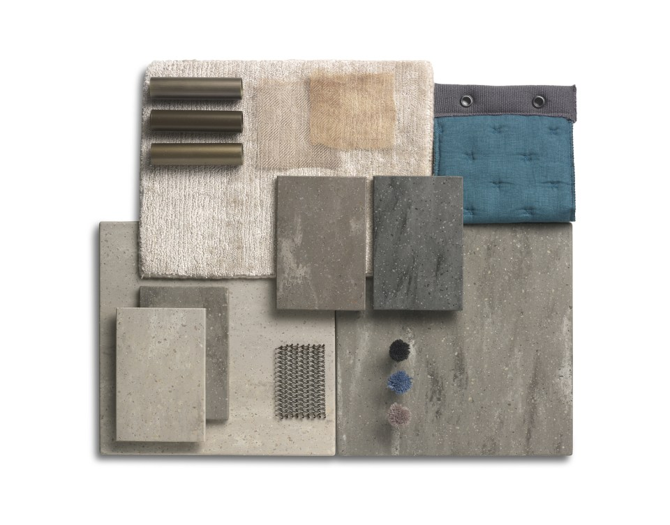 Corian Moodboard displaying samples of the Aggregate Solid Surface Collection