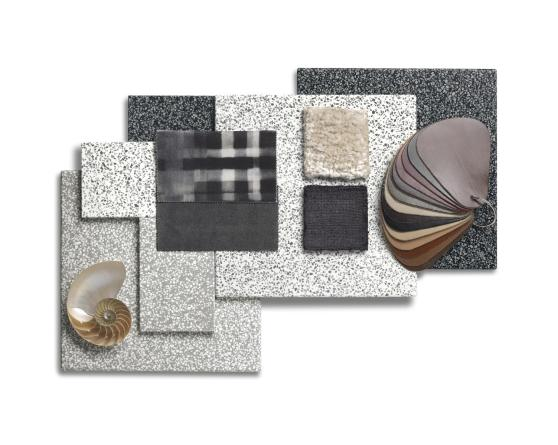 Corian Moodboard displaying colors of Corian in the Terrazzo Solid Surface Collection