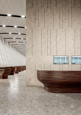 """""""Wood"""" look desk made of Corian solid surface from Mohagony Nuwood Collection"""