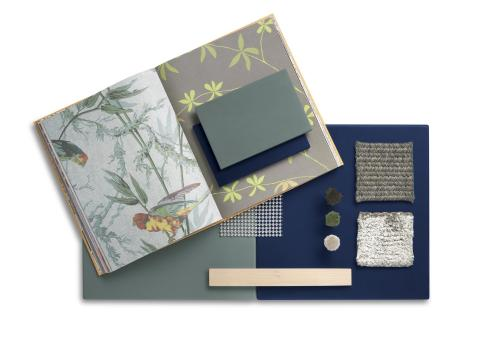 Moodboard displaying samples of the two new Solid colors of Corian, Verdant and Laguna