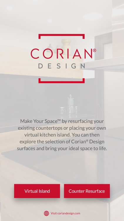 Opening screen of the Spaces by Design App from Corian A/R