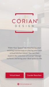 Opening screen of the Spaces by Design App from Corian® A/R
