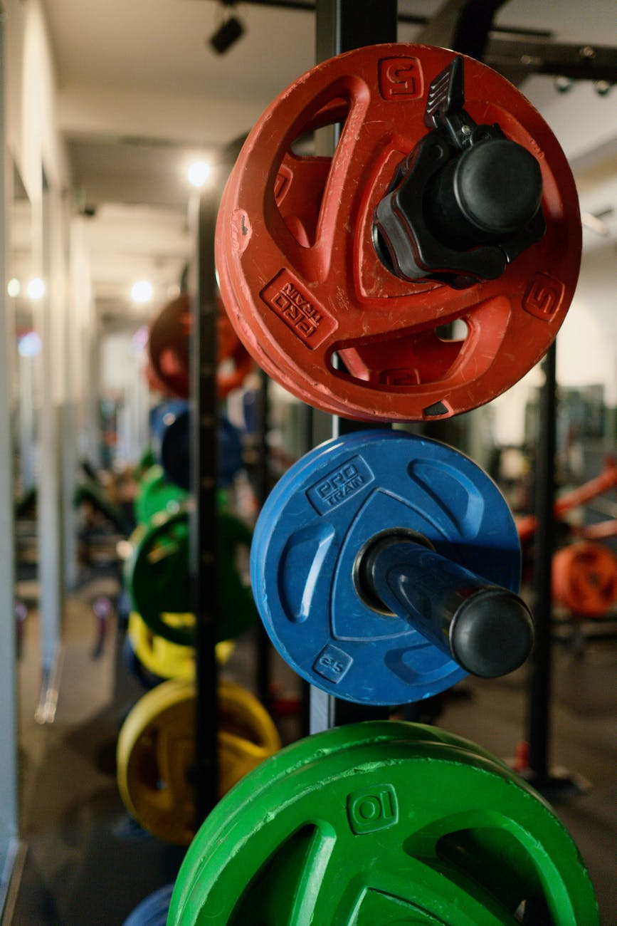 weight plates in different colors