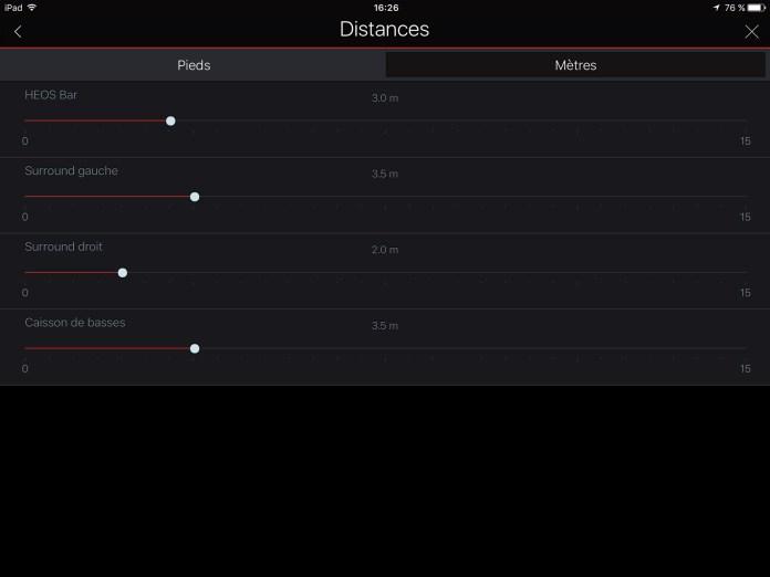 App Heos: réglage distances