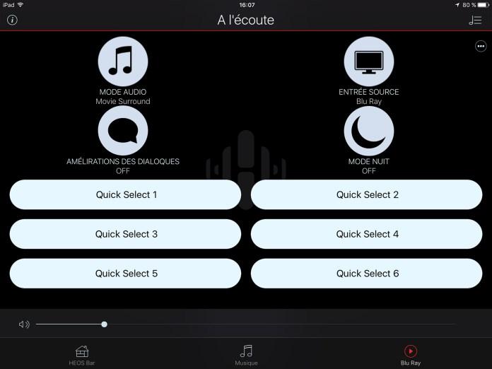 App Heos: menu sélection de source et réglages audio