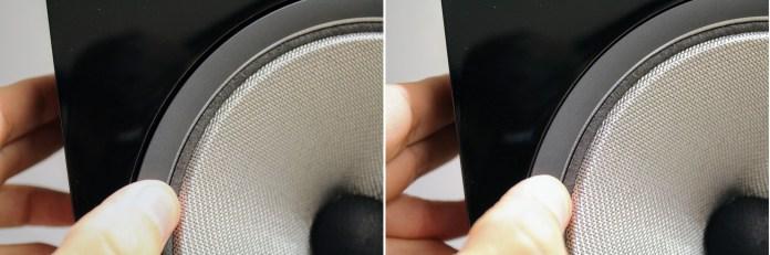 Le haut-parleur Continuum, à membrane souple, est découplé de la caisse par une tige filetée arrière, ainsi que par un système de ressorts au niveau du saladier, qu'il est possible de désaxer (temporairement) par simple pression. Ingénieux.