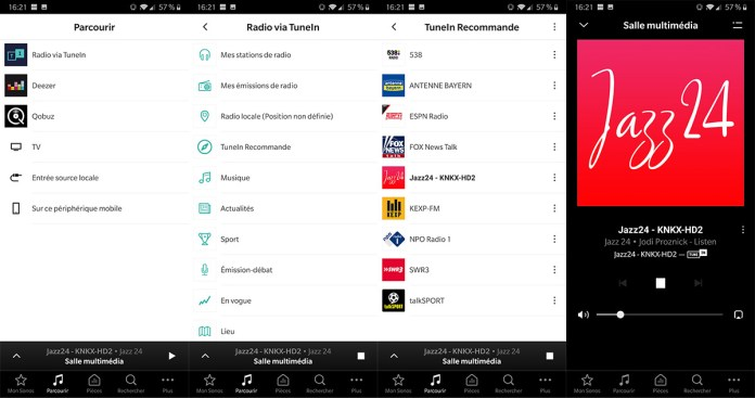 App Sonos : service de radios internet TuneIn