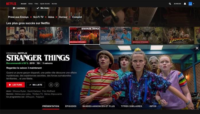 Stranger Things - Saison 3 - Interface Netflix