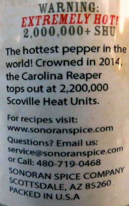 Sonoran Spice Carolina Reaper Powder Label
