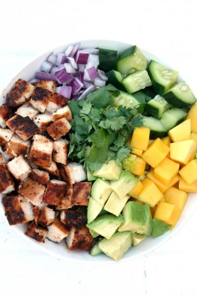 Sliced veggies and chicken