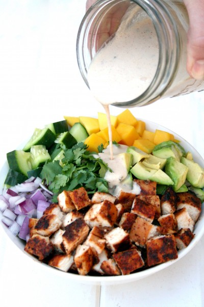 Chipotle Ranch drizzled over Chipotle Chicken Mango Salad