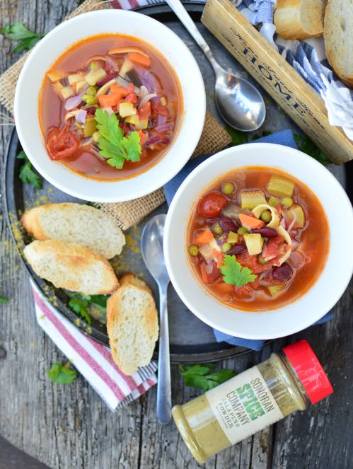 Minestrone soup with sonoran spice jalapeno powder