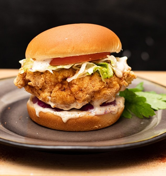 Carolina Reaper Fried Chicken Sandwich with Spicy Ranch