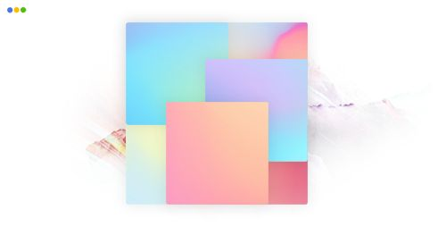 artwork depicting a rectangle with patches of various colors