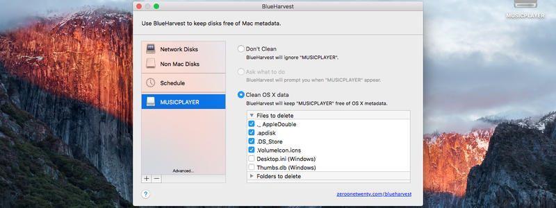 不要なメタデータファイルを自動削除するBlueHarvest