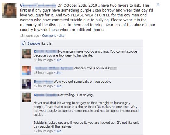 A Facebook conversation regarding the suicides of gay individuals