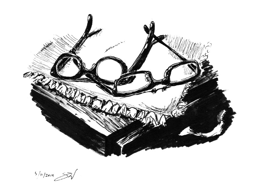 Tangled glasses drawing