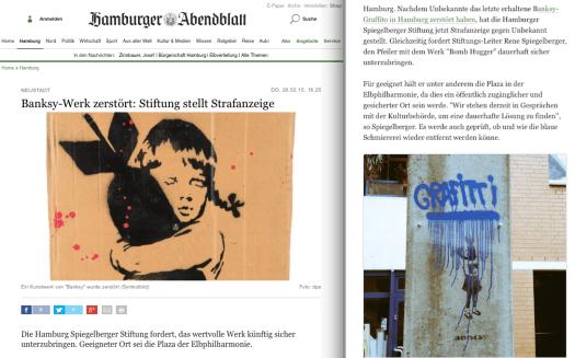 Auch das Abendblatt widmete sich in seiner Print und Online Ausgabe dem Thema Banksy.