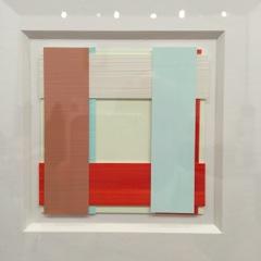 Kleine frische Knoebel Collage Bilder 'Face' in Acryl auf Kunststofffolie bei Galerie Lethert für 1800 EUR je Variante (30 Stück), Format ca. 6x6 cm