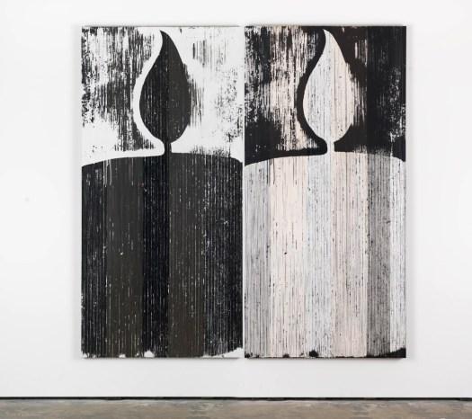 """Gregor Hildebrandt  """"schwarze und weiße Kerze (Orpheus und Eurydike (Gluck))"""", 2015 cassette tape and acrylic paint on canvas 211 x 103 cm, Gallery Wentrup, 31 TEUR/pp"""