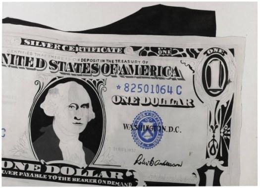 """Früh, groß und singulär: Warhols Gemälde des """"One Dollar Bill"""" in Kasein und Bleistift auf Leinen, 132,4 mal 182 Zentimeter, für 18,5 Millionen Pfund (Taxe 13/18 Millionen) - Foto: Sotheby's"""