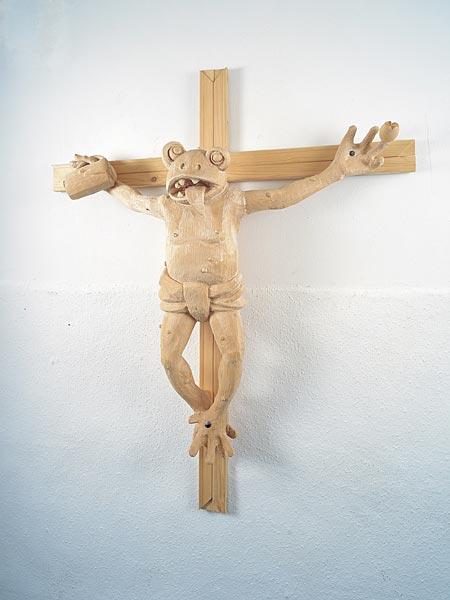 Martin Kippenberger, Was ist der Unterschied zwischen Casanova und Jesus? Der Gesichtausdruck beim Nageln, 1990