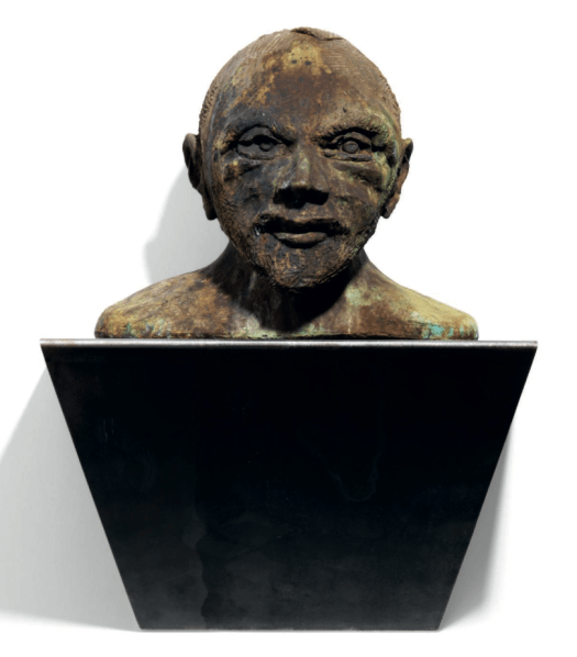 THOMAS SCHÜTTE (B.1954) Wicht (Goblin) stamped with the artist's initials, numbered and dated twice 'T.S. 06 3/6' and with the foundry mark 'Kayser Dfsseldorf' (on the underside of the bronze) patinated bronze and steel base base: 12¬ x 19¬ x 12¬in. (32 x 50 x 32cm.) bust: 12Ω x 15æ x 12in. (31.9 x 40 x 30.5cm.) overall: (63.9 x 50 x 32cm.) Executed in 2006, this work is number three from an edition of six plus two artist's proofs, Estimate 200-300' GBP