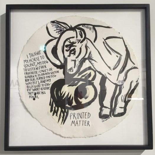 Der Amerikanische Zeichner Raymond Pettibon hier mit einer typischen Arbeit für Printed Matter. Die Verleger rufen für das Werk des Geburtstagskindes (*16.06.1957) 20 TEUR auf