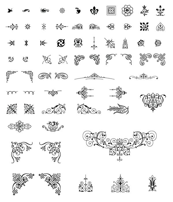 85 Ornamentos Vintage vectorizados (1/2)