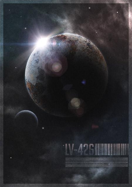 Retro futuristic space planet poster