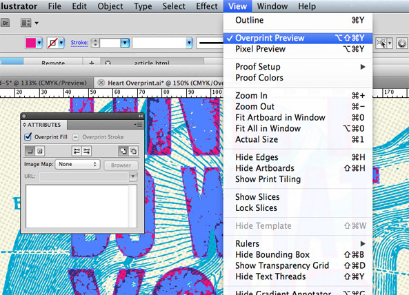 Applying overprint settings