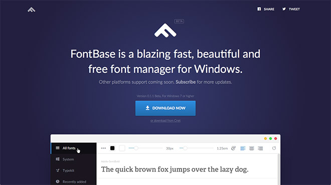 tela do software gerenciador de fontes Fontbase Windows