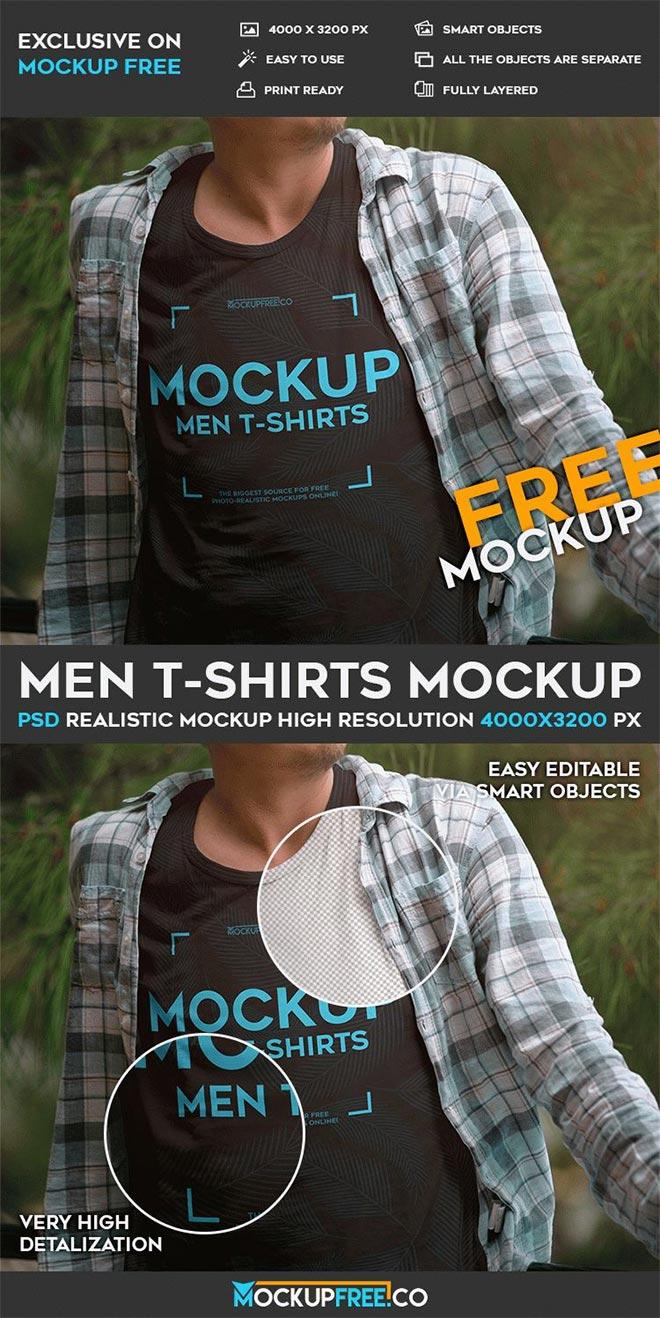 Men T-shirts – Free PSD Mockup