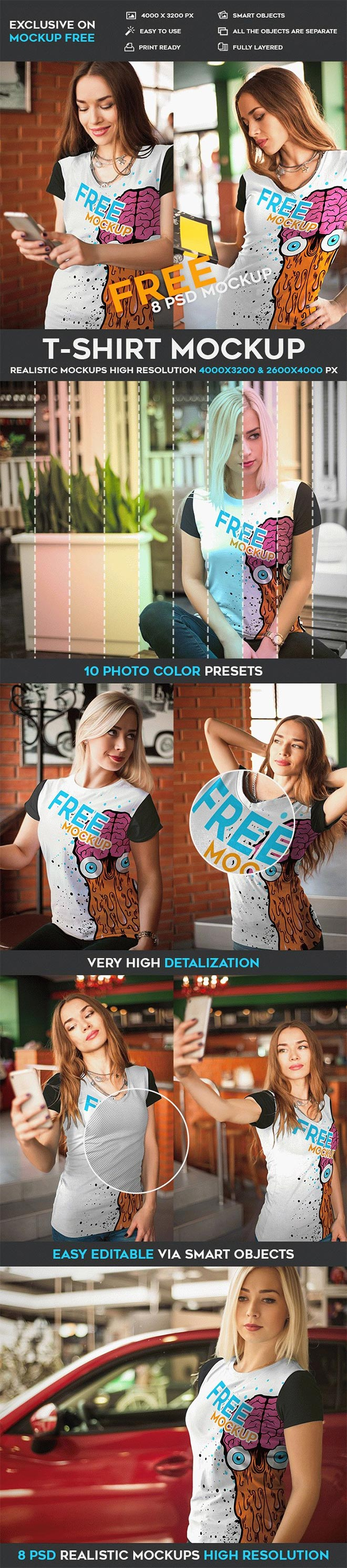 T-Shirt – 8 Free PSD Mockups
