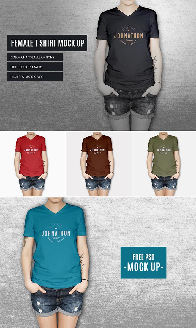 Women t shirt mock up for graphic designers