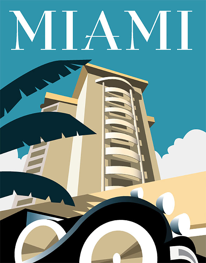 style of art deco travel posters