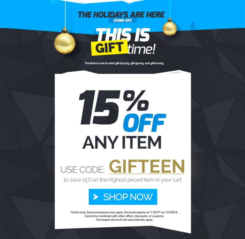 15% OFF ANY ITEM with code GIFTEEN