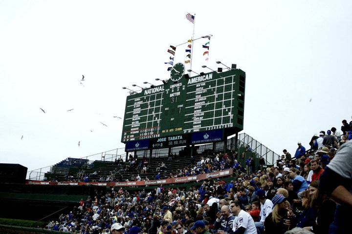 Wrigley Field traditional scoreboard