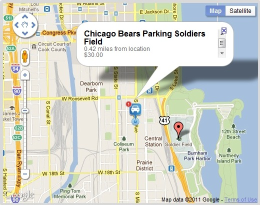 Chicago Bears Parking Map Soldiers Field