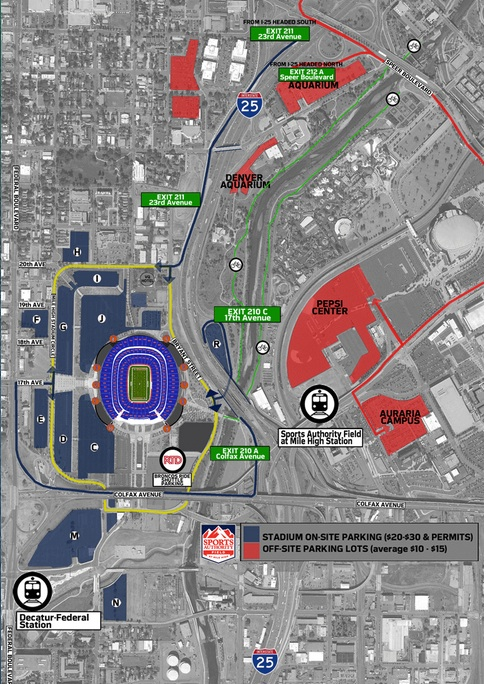 sports authority field parking map