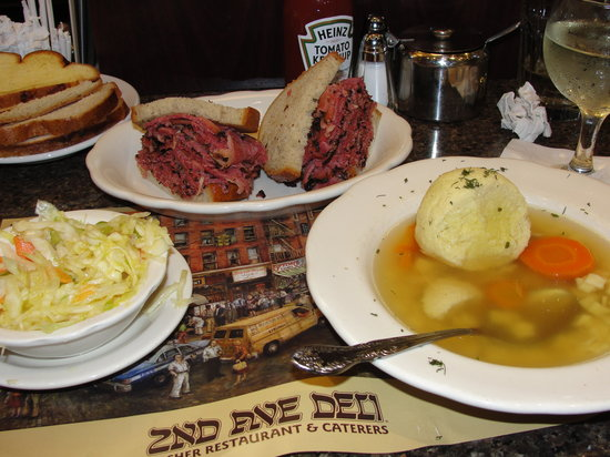 Pastrami sandwich and matzoh ball soup at 2nd Avenue Deli in NYC's Murray Hill.