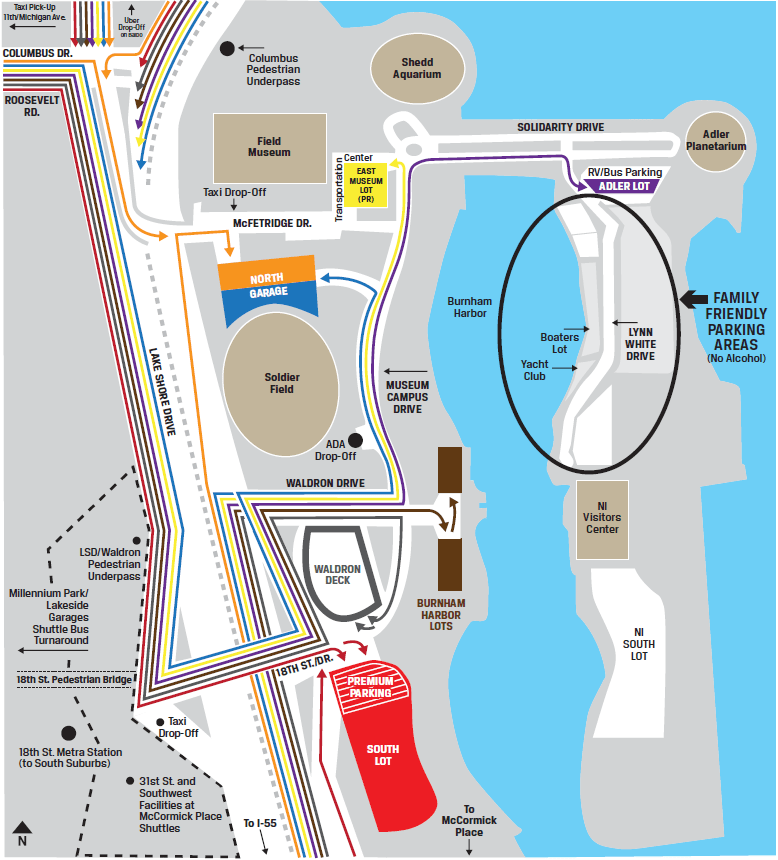 Permit Parking Chicago Map.Chicago Bears Parking Your Guide To Soldier Field Parking