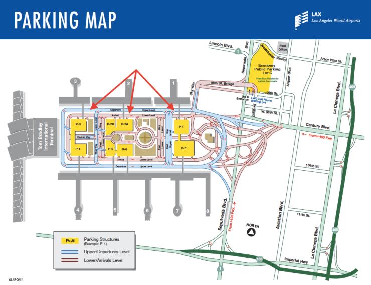 LAX Terminal Parking Map