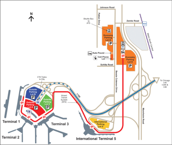 Chicago O'Hare Parking Map Terminal