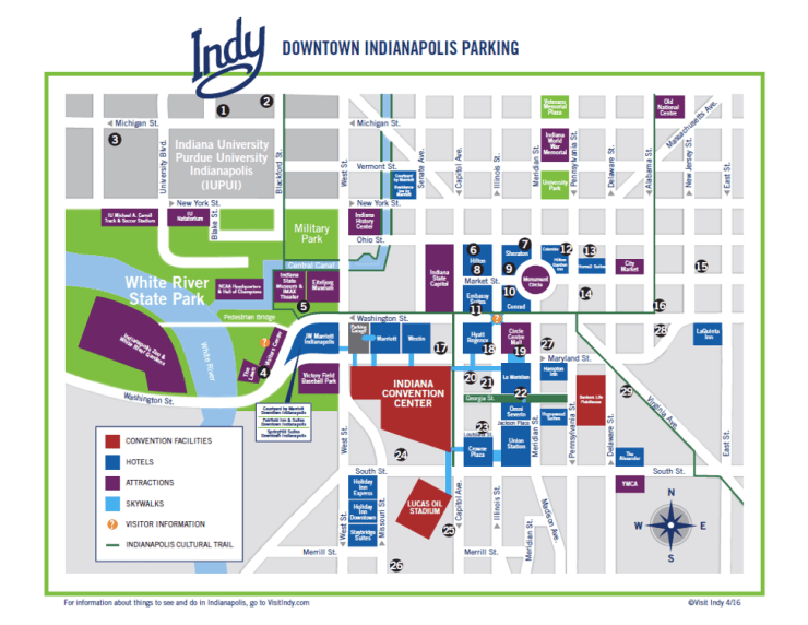 Downtown Indianpolis parking map