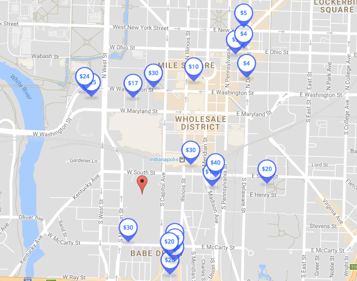 colts parking map spothero
