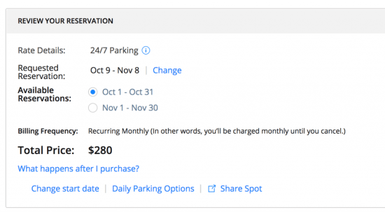 spothero monthly billing
