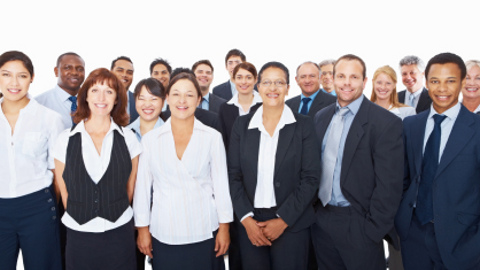 Group of smiling business people smiling over white background