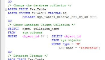SQL SERVER - Find Collation of Database and Table Column