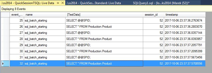 XE profiler - TSQL columns